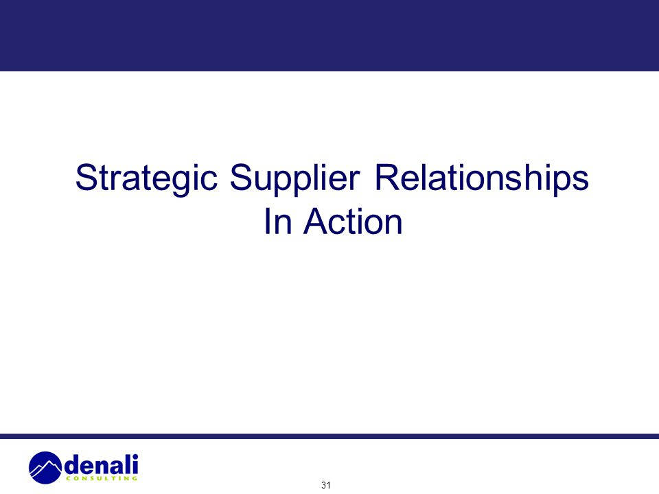 31 Strategic Supplier Relationships In Action