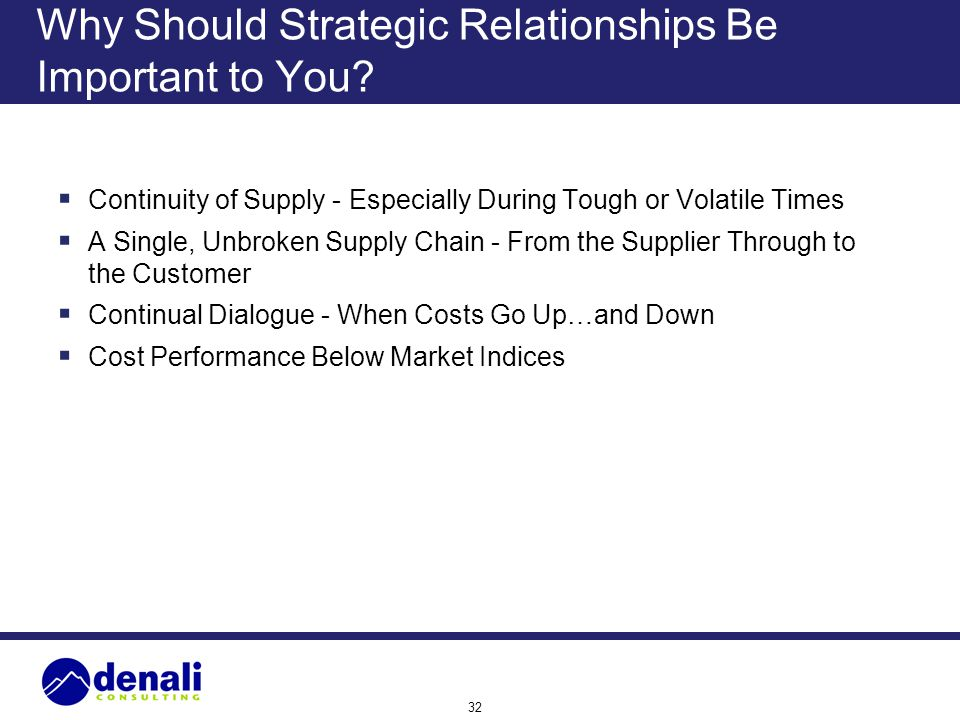 32 Why Should Strategic Relationships Be Important to You? Continuity of Supply - Especially During Tough or Volatile Times A Single, Unbroken Supply