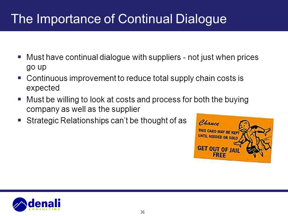 36 The Importance of Continual Dialogue Must have continual dialogue with suppliers - not just when prices go up Continuous improvement to reduce tota