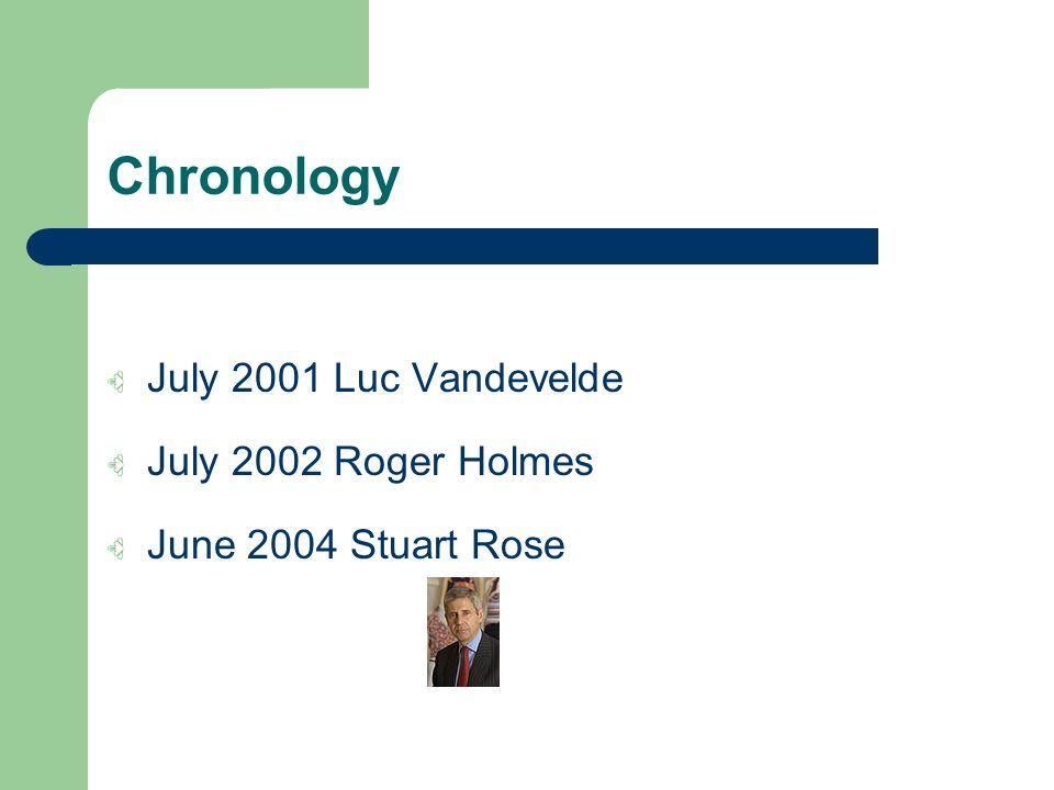 Chronology July 2001 Luc Vandevelde July 2002 Roger Holmes June 2004 Stuart Rose