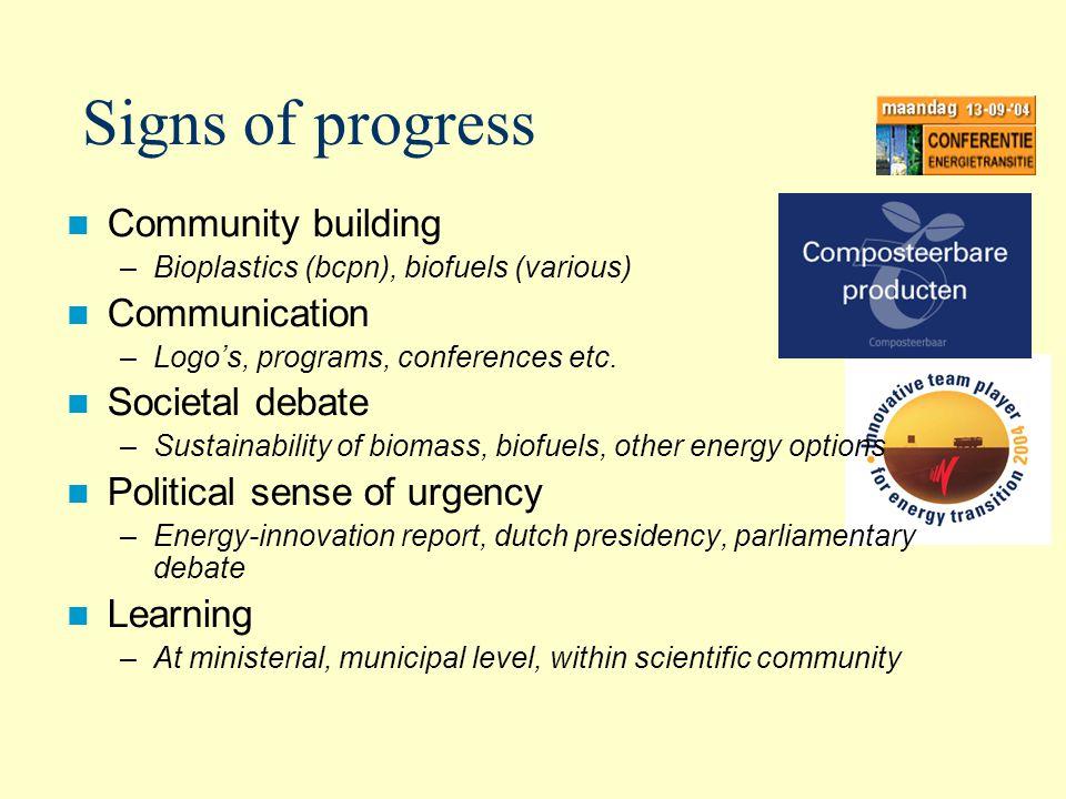 Signs of progress Community building –Bioplastics (bcpn), biofuels (various) Communication –Logos, programs, conferences etc.