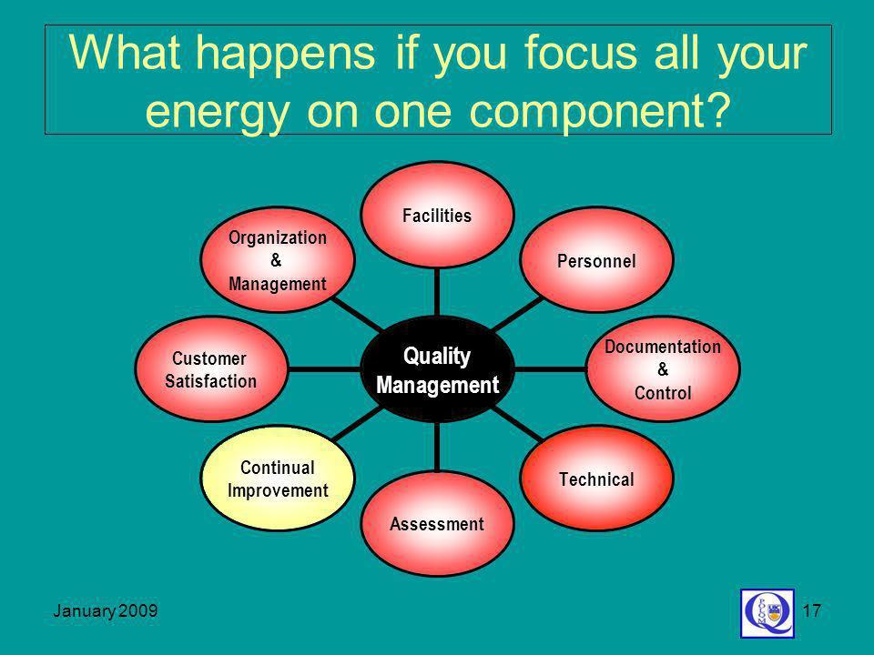 January 200917 Quality Management FacilitiesPersonnel Documentation & Control TechnicalAssessment Continual Improvement Customer Satisfaction Organiza