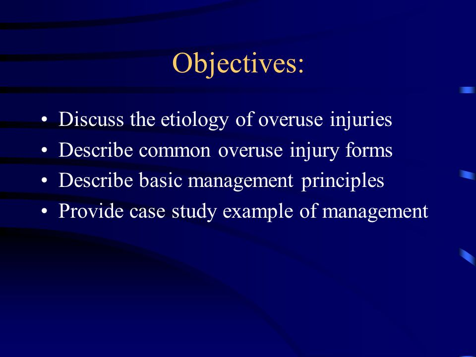 Important Concepts (STOMP, STOMP) Making an accurate patho-anatomic diagnosis is critical For every injury (victim) there are underlying causes (culprits)--not limited to just overuse Rest and NSAIDs alone do not heal Rehabilitative exercise is the cornerstone for healing