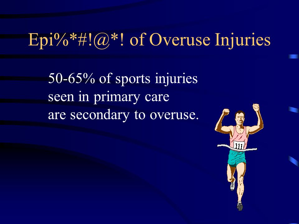 Example of cartilage overuse injury Patellofemoral syndrome culprits: –hamstring inflexibility –relative quad weakness –hyperpronation –lateral patellar retinaculum tightness –overtraining