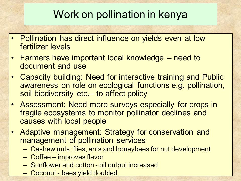 Work on pollination in kenya Pollination has direct influence on yields even at low fertilizer levels Farmers have important local knowledge – need to document and use Capacity building: Need for interactive training and Public awareness on role on ecological functions e.g.