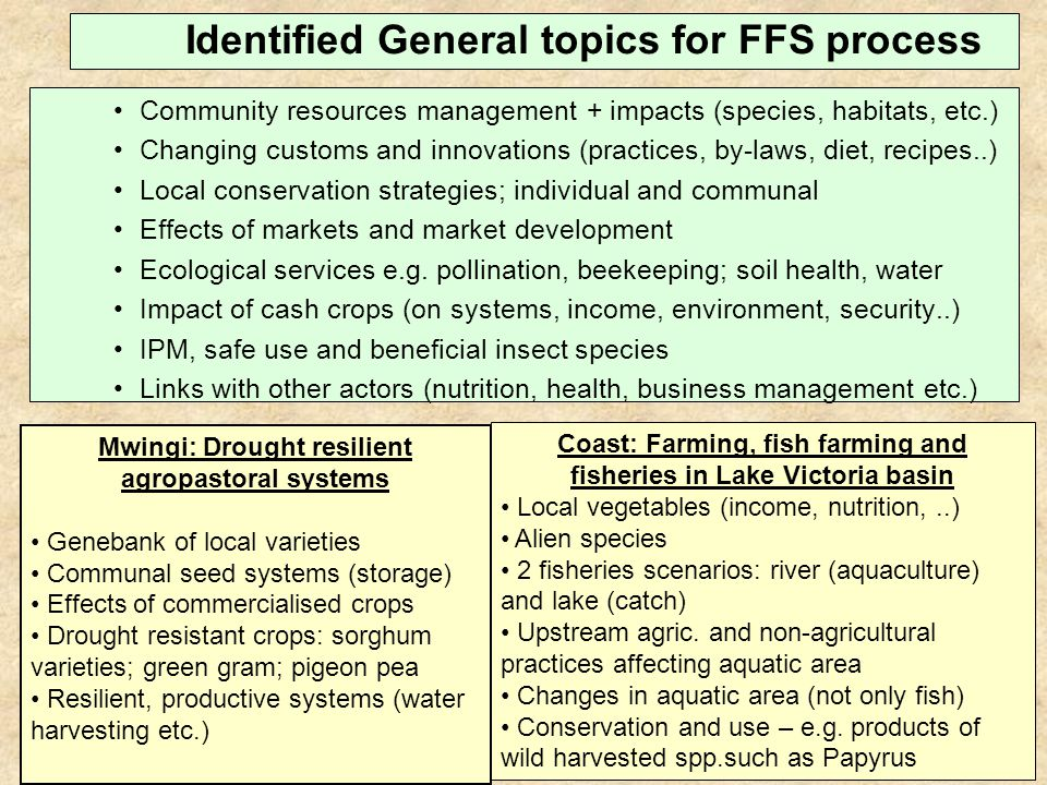 Expanding FFS to agro-pastoral communities.