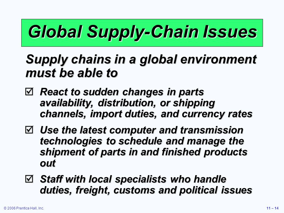 © 2006 Prentice Hall, Inc.11 – 14 Global Supply-Chain Issues React to sudden changes in parts availability, distribution, or shipping channels, import