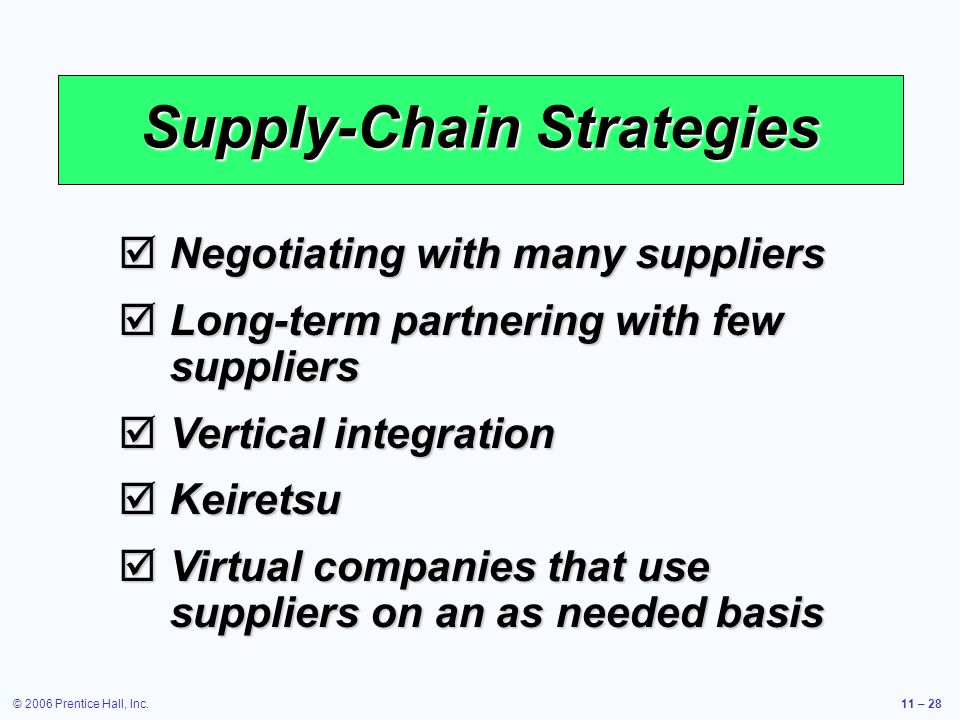 © 2006 Prentice Hall, Inc.11 – 28 Supply-Chain Strategies Negotiating with many suppliers Negotiating with many suppliers Long-term partnering with few suppliers Long-term partnering with few suppliers Vertical integration Vertical integration Keiretsu Keiretsu Virtual companies that use suppliers on an as needed basis Virtual companies that use suppliers on an as needed basis