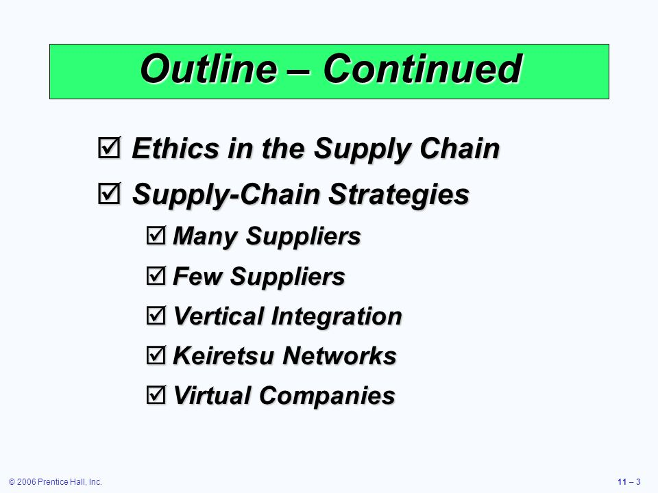 © 2006 Prentice Hall, Inc.11 – 3 Outline – Continued Ethics in the Supply Chain Ethics in the Supply Chain Supply-Chain Strategies Supply-Chain Strate