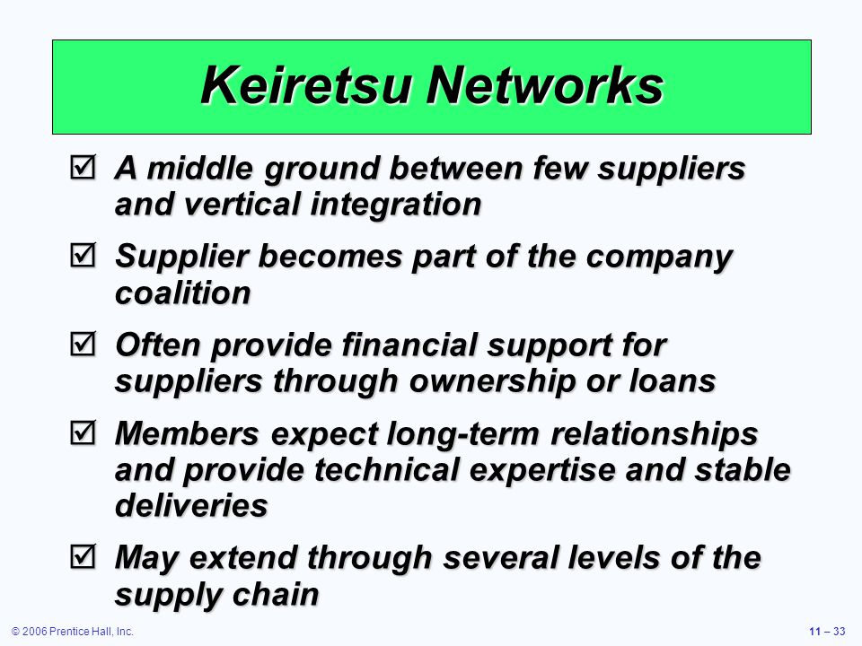 © 2006 Prentice Hall, Inc.11 – 33 Keiretsu Networks A middle ground between few suppliers and vertical integration A middle ground between few suppliers and vertical integration Supplier becomes part of the company coalition Supplier becomes part of the company coalition Often provide financial support for suppliers through ownership or loans Often provide financial support for suppliers through ownership or loans Members expect long-term relationships and provide technical expertise and stable deliveries Members expect long-term relationships and provide technical expertise and stable deliveries May extend through several levels of the supply chain May extend through several levels of the supply chain