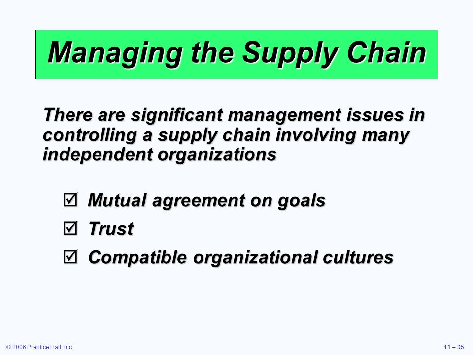 © 2006 Prentice Hall, Inc.11 – 35 Managing the Supply Chain Mutual agreement on goals Mutual agreement on goals Trust Trust Compatible organizational