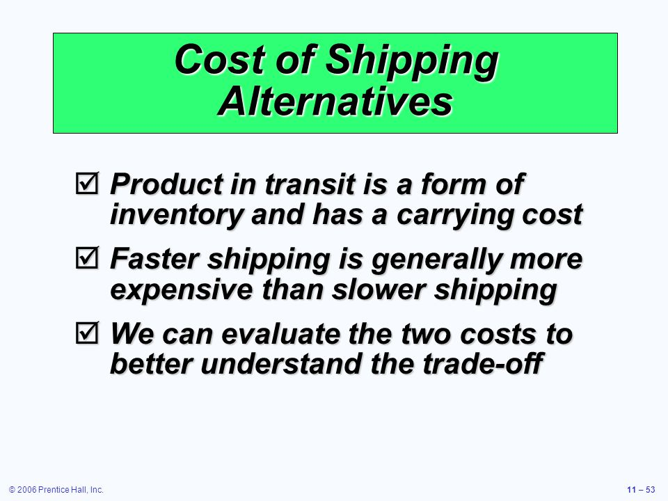 © 2006 Prentice Hall, Inc.11 – 53 Cost of Shipping Alternatives Product in transit is a form of inventory and has a carrying cost Product in transit i