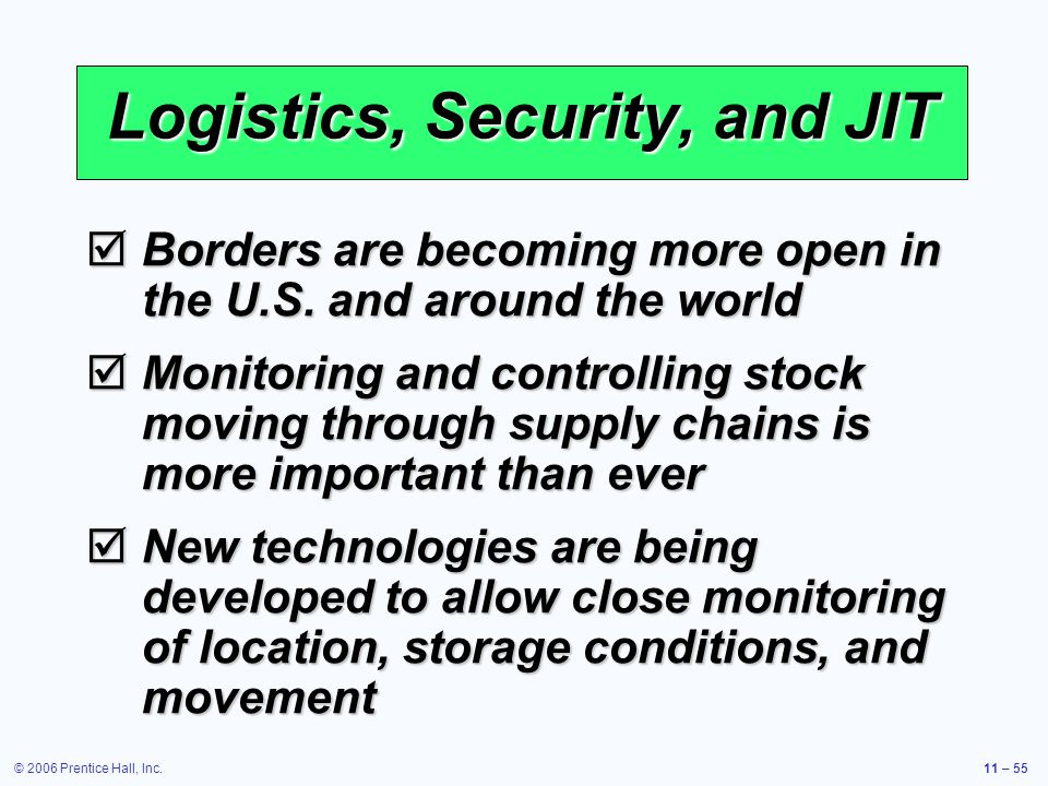 © 2006 Prentice Hall, Inc.11 – 55 Logistics, Security, and JIT Borders are becoming more open in the U.S. and around the world Borders are becoming mo
