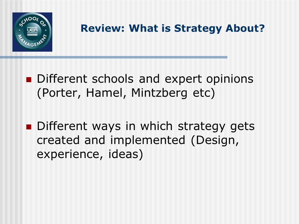 Review: What is Strategy About.
