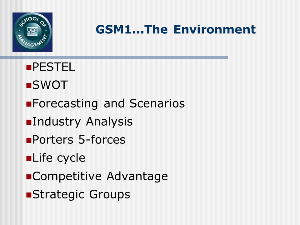 GSM1...The Environment PESTEL SWOT Forecasting and Scenarios Industry Analysis Porters 5-forces Life cycle Competitive Advantage Strategic Groups