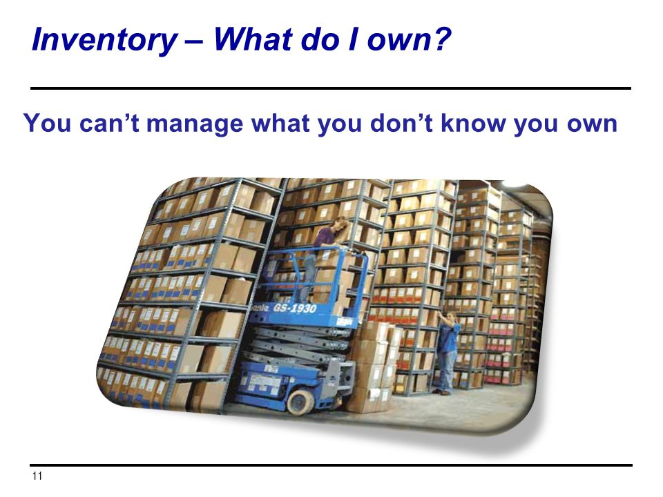 You cant manage what you dont know you own 11 Inventory – What do I own?