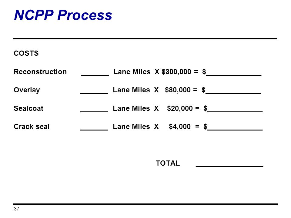 37 NCPP Process COSTS Reconstruction _______ Lane Miles X $300,000 = $______________ Overlay _______ Lane Miles X $80,000 = $______________ Sealcoat _