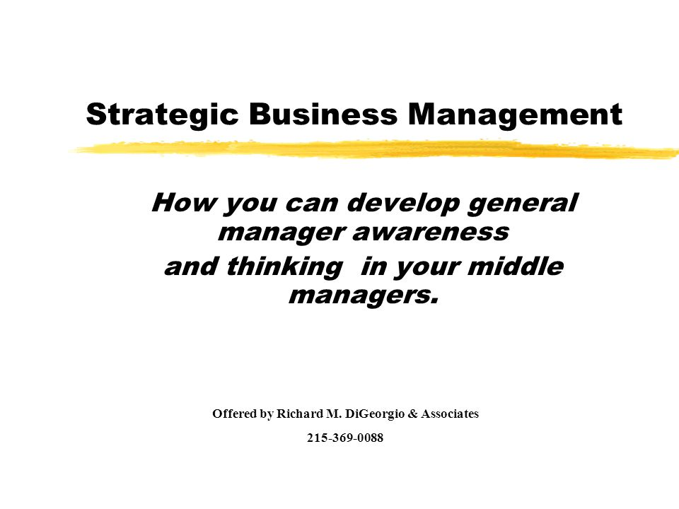 Strategic Business Management How you can develop general manager awareness and thinking in your middle managers.