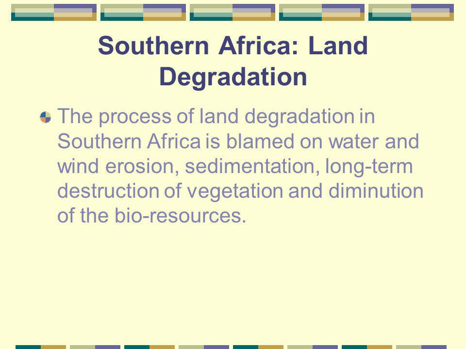 Management (cont) Networking is lacking and there is failure to share vision; there is increased duplication of efforts leading to increased inefficiency and failure to create a critical mass of expertise around land degradation management issues.