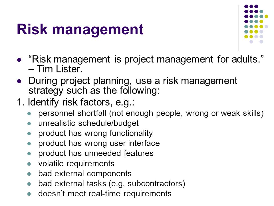 Risk management Risk management is project management for adults.