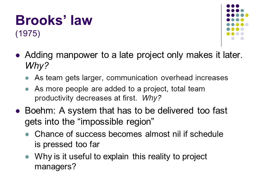 Brooks law (1975) Adding manpower to a late project only makes it later.