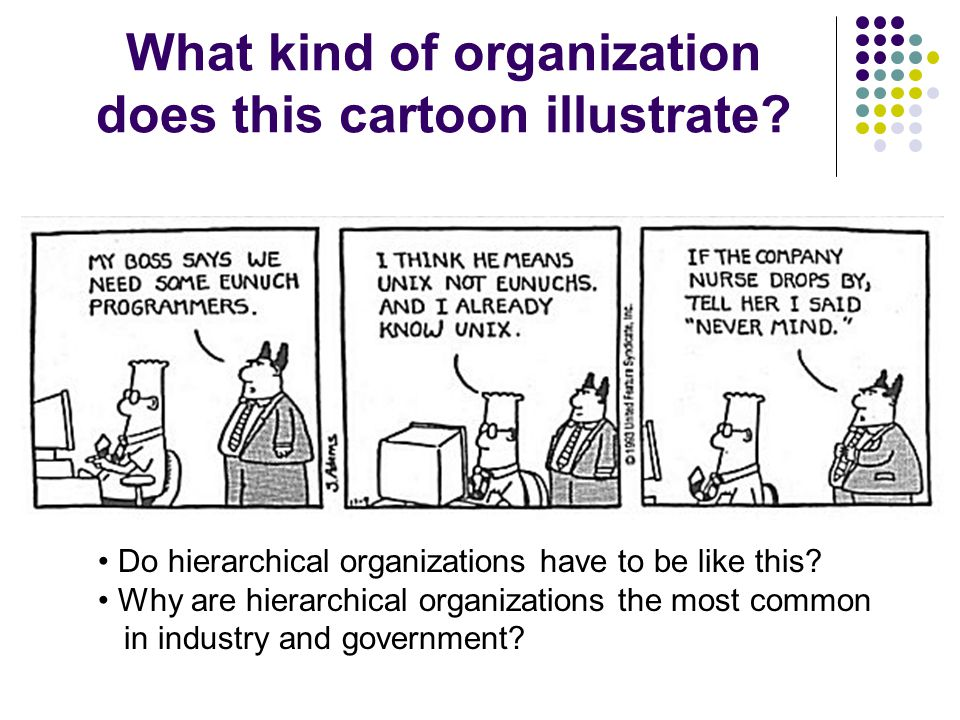 What kind of organization does this cartoon illustrate.