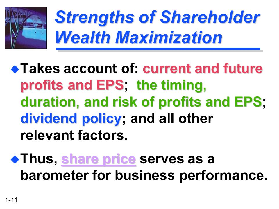 1-11 Strengths of Shareholder Wealth Maximization current and future profits and EPSthe timing, duration, and risk of profits and EPS dividend policy u Takes account of: current and future profits and EPS; the timing, duration, and risk of profits and EPS; dividend policy; and all other relevant factors.