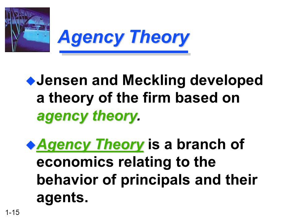 1-15 Agency Theory u Agency Theory u Agency Theory is a branch of economics relating to the behavior of principals and their agents.