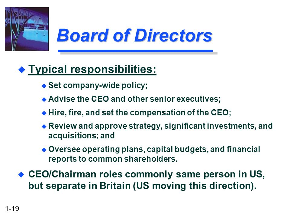 1-19 Board of Directors u Typical responsibilities: u Set company-wide policy; u Advise the CEO and other senior executives; u Hire, fire, and set the compensation of the CEO; u Review and approve strategy, significant investments, and acquisitions; and u Oversee operating plans, capital budgets, and financial reports to common shareholders.