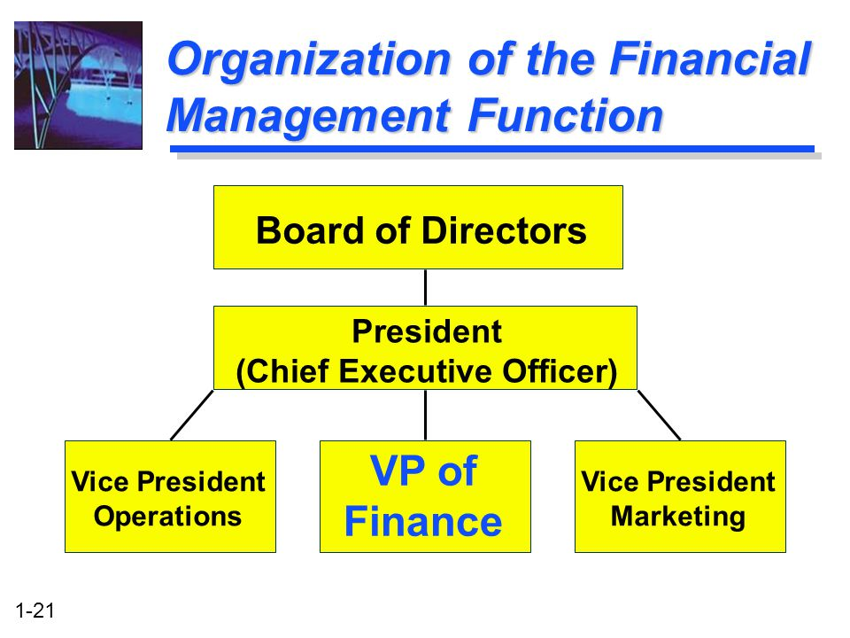 1-21 Organization of the Financial Management Function Board of Directors President (Chief Executive Officer) Vice President Operations Vice President Marketing VP of Finance