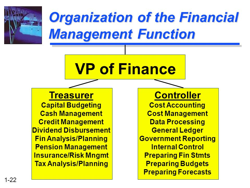 1-22 Treasurer Capital Budgeting Cash Management Credit Management Dividend Disbursement Fin Analysis/Planning Pension Management Insurance/Risk Mngmt Tax Analysis/Planning Organization of the Financial Management Function VP of Finance Controller Cost Accounting Cost Management Data Processing General Ledger Government Reporting Internal Control Preparing Fin Stmts Preparing Budgets Preparing Forecasts