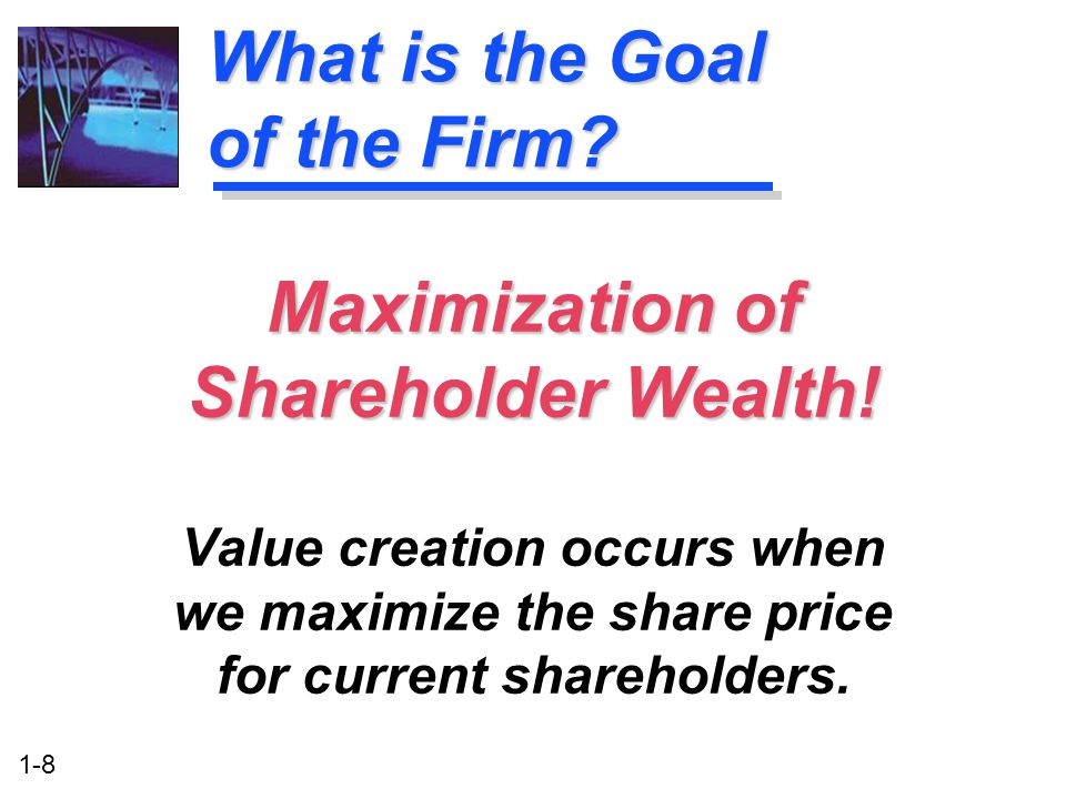 1-8 What is the Goal of the Firm. Maximization of Shareholder Wealth.