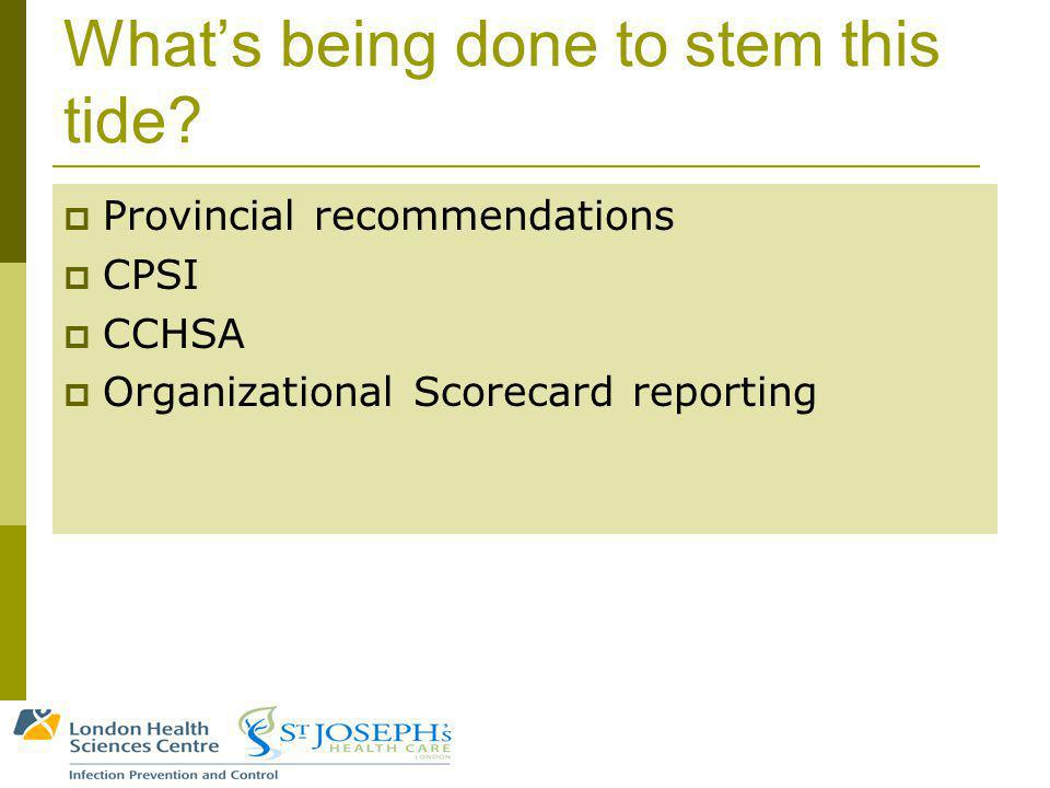 Whats being done to stem this tide? Provincial recommendations CPSI CCHSA Organizational Scorecard reporting