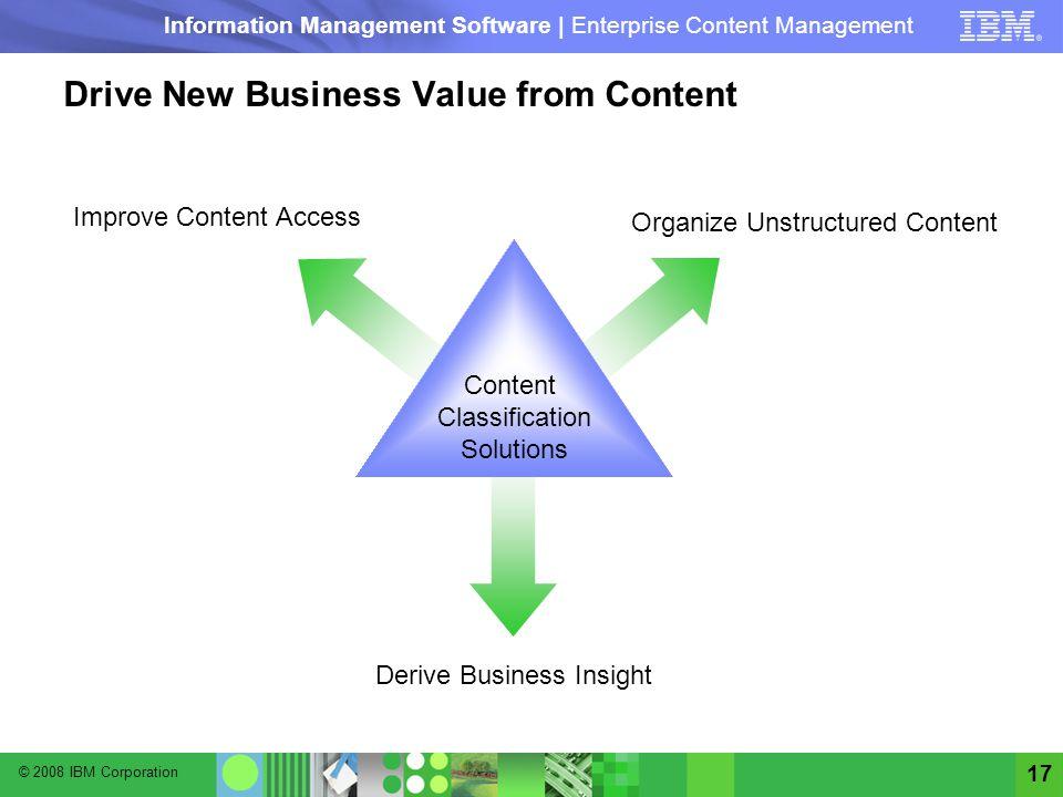 © 2008 IBM Corporation Information Management Software | Enterprise Content Management 17 Drive New Business Value from Content Content Classification