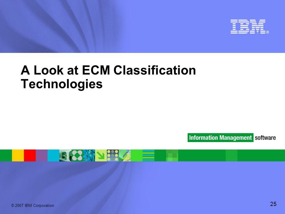 © 2007 IBM Corporation 25 A Look at ECM Classification Technologies