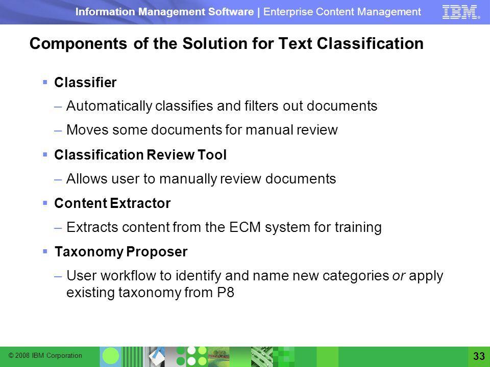 © 2008 IBM Corporation Information Management Software | Enterprise Content Management 33 Components of the Solution for Text Classification Classifie