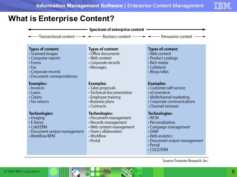 © 2008 IBM Corporation Information Management Software | Enterprise Content Management 5 What is Enterprise Content?