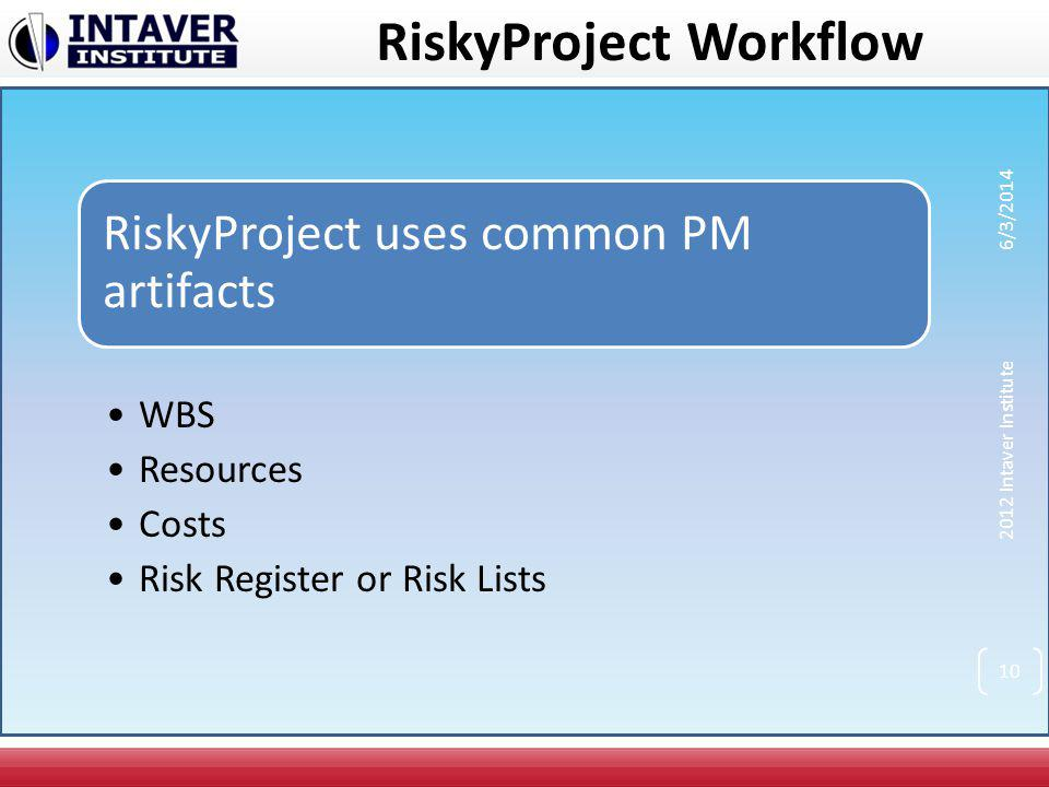 RiskyProject uses common PM artifacts WBS Resources Costs Risk Register or Risk Lists 2012 Intaver Institute 6/3/2014 10 RiskyProject Workflow