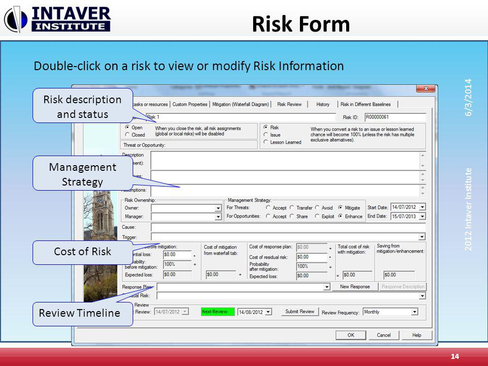 Risk Form 14 Risk description and status Cost of Risk Management Strategy Review Timeline Double-click on a risk to view or modify Risk Information 20