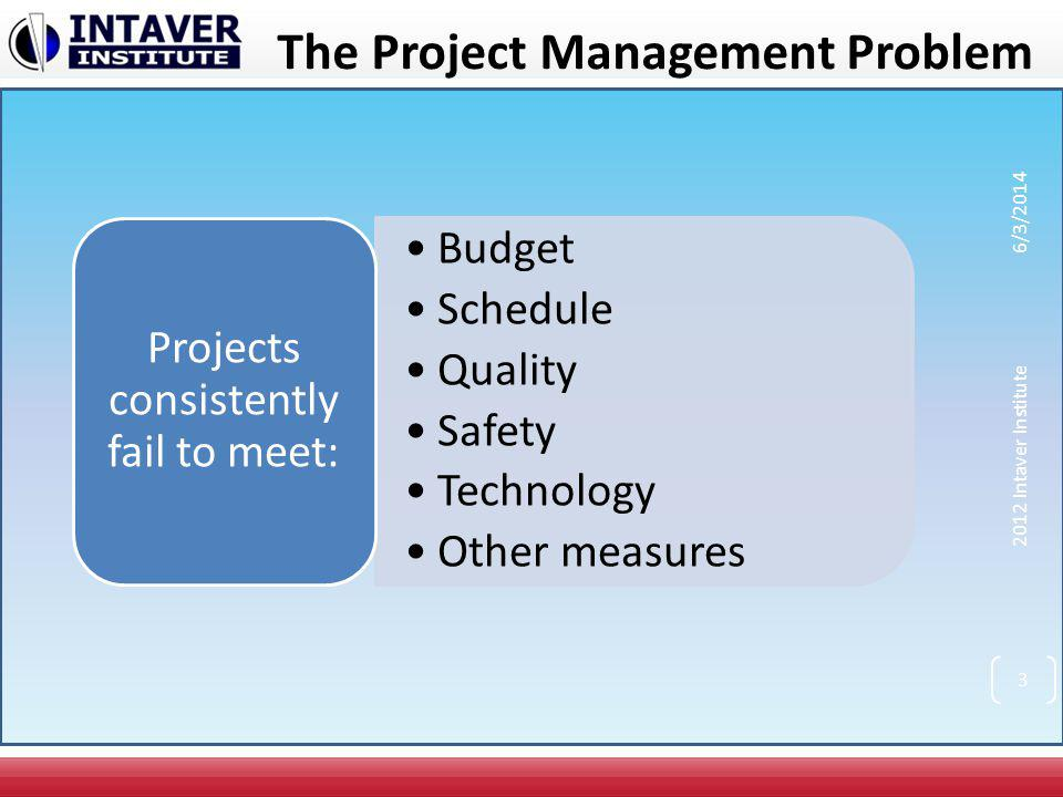 The Project Management Problem Budget Schedule Quality Safety Technology Other measures Projects consistently fail to meet: 2012 Intaver Institute 6/3