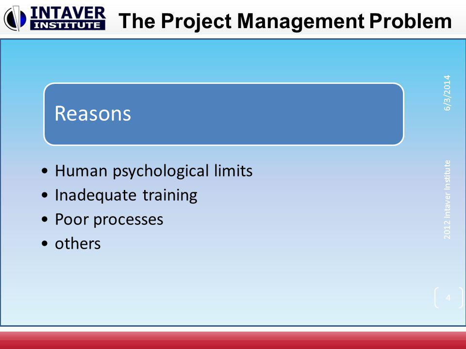 The Project Management Problem Key Project Management Issues How to estimate project duration or cost.