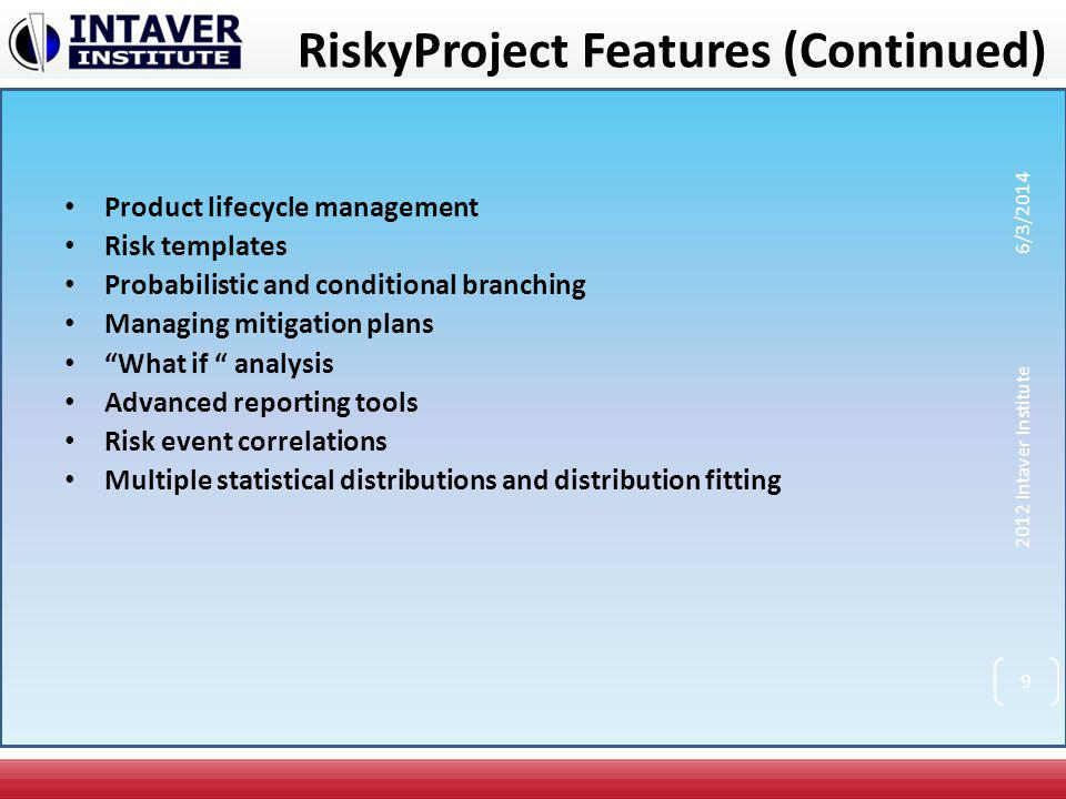Risk Chart Risk chart shows task duration and versus risk, associated with task This task has low duration but high risk These tasks have balanced risk versus duration ratio.