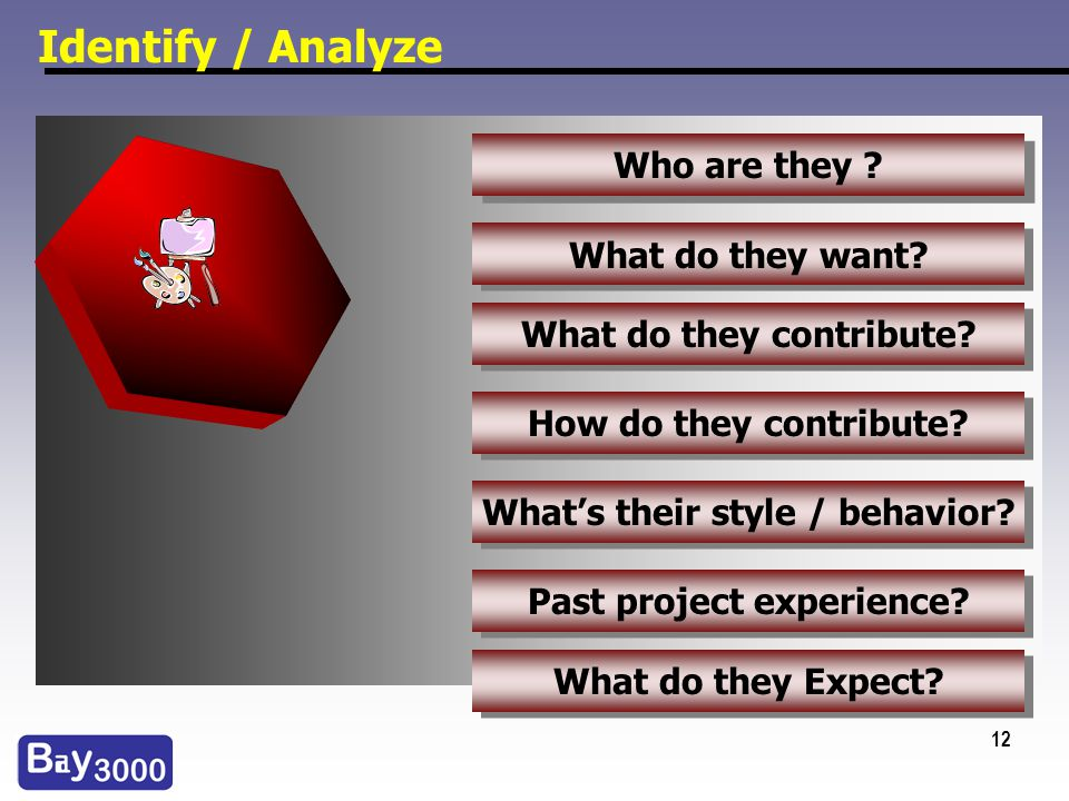 12 Identify / Analyze Who are they ? What do they want? Whats their style / behavior? How do they contribute? What do they contribute? Past project ex