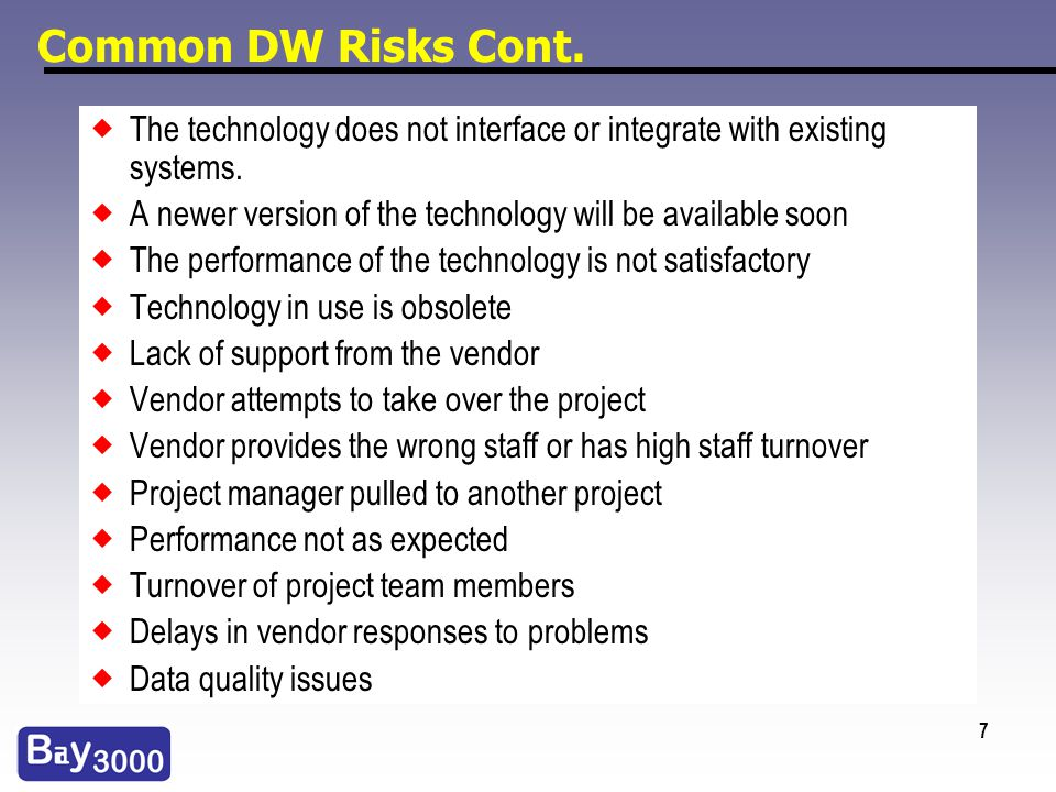 7 Common DW Risks Cont. The technology does not interface or integrate with existing systems. A newer version of the technology will be available soon