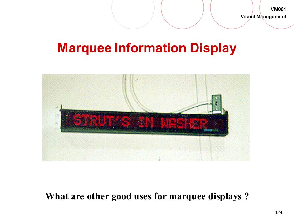123 VM001 Visual Management These standard lighted displays provide … Consistency Easy visibility Status at a glance Problem recognition Team encourag
