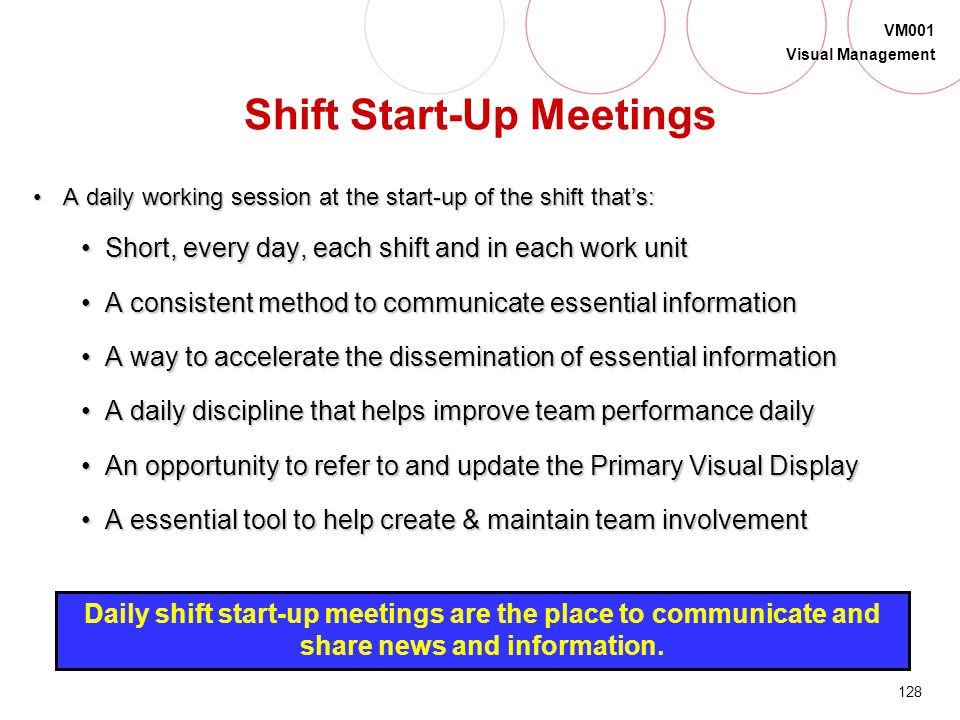 127 VM001 Visual Management Team Territory is a place to... hold shift startup meetings identify the team exhibit products made be managed by the team