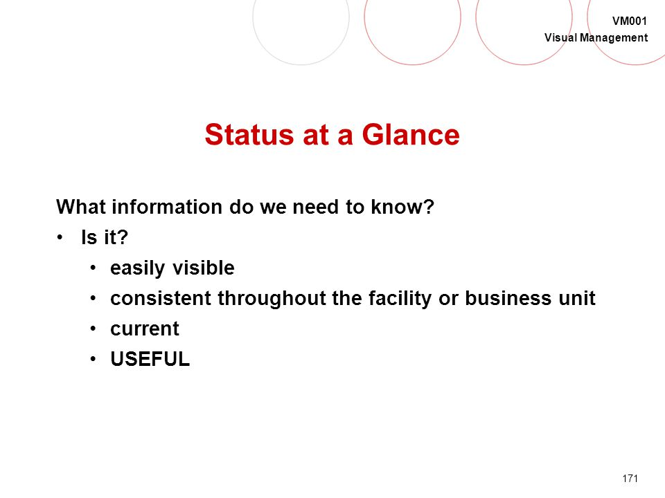 170 VM001 Visual Management Visual Management Status Distinguish between what is and is not normal Make waste and abnormalities obvious to everyone Co
