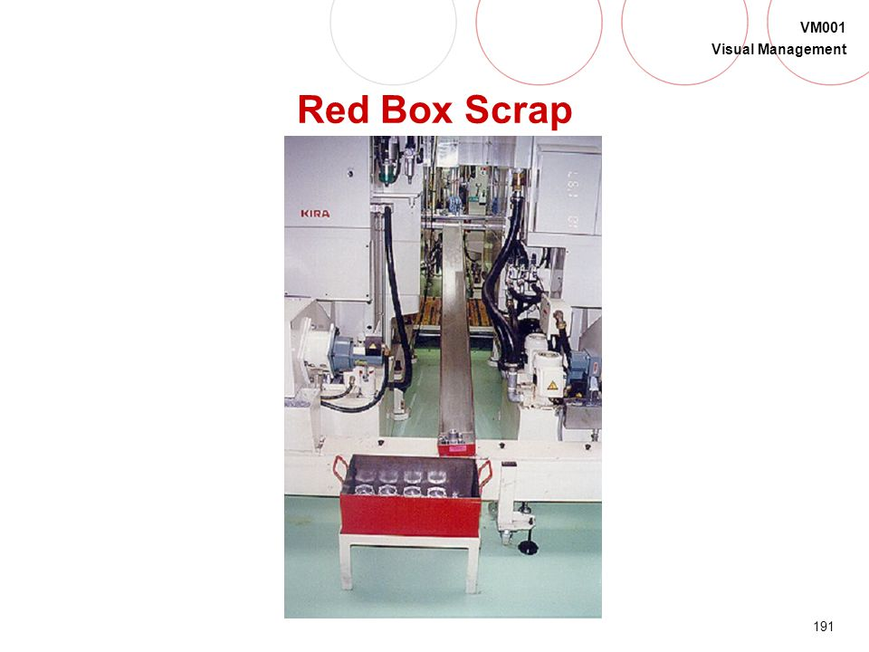 190 VM001 Visual Management Red Box Scrap Are there less than 6 total or 3 identical parts in the box? YES - continue production NO - stop production