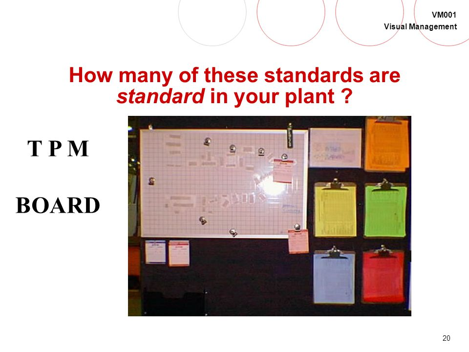 19 VM001 Visual Management How many of these standards are standard in your plant ? RED BOX SCRAP