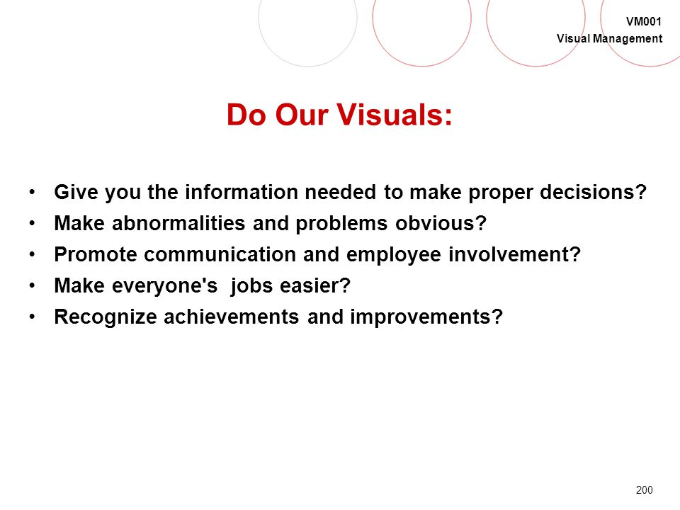 199 VM001 Visual Management Visual Management Are WE Hitting the Target?